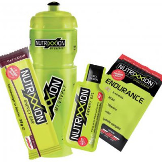 Nutrixxion Set Trinkflasche (750 ml) + Energy Bar (55 g) + Energy Gel (40 g) + Endurance Drink (35g)