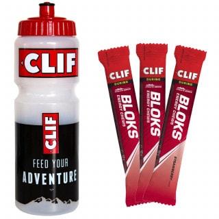 Clif Bloks Kohlenhydrat-Elektrolyt-Kaubonbon (3 x 60 g) + Trinkflasche (750 ml)