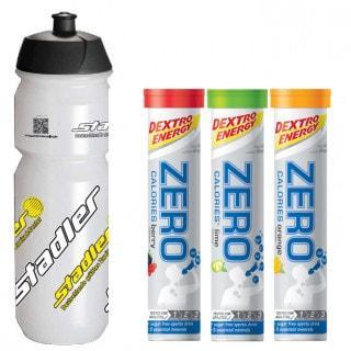 Dextro Energy Zero Calories Elektrolytgetränk Brausetabletten (3 x 80 g) + Trinkflasche Stadler (750 ml)