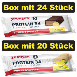 Sponser Protein 34 Eiweiß-Riegel Box (24 x 40 g / 20 x 50 g)