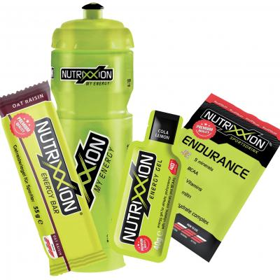 Nutrixxion Set Trinkflasche (750 ml) + Energy Bar (55 g) + Energy Gel (40 g) + Endurance Drink (35g)