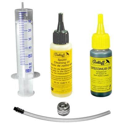 Rohloff Ölwechsel-Set: Spülöl + Ganzjahresöl + Ölablassschraube + Öleinfüllschlauch + Einwegspritze