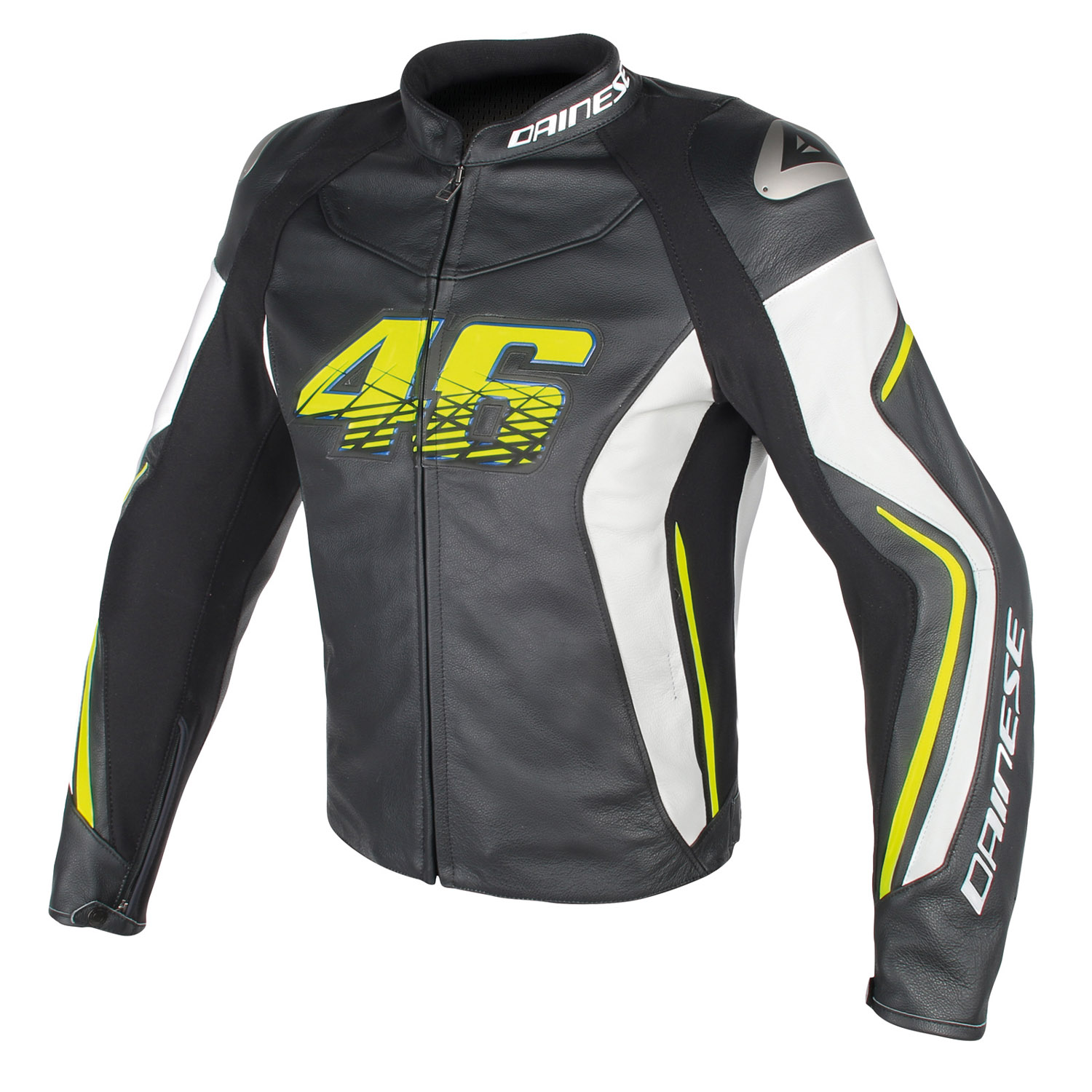 dainese vr46 d2 motorrad lederjacke schwarz weiss neongelb. Black Bedroom Furniture Sets. Home Design Ideas