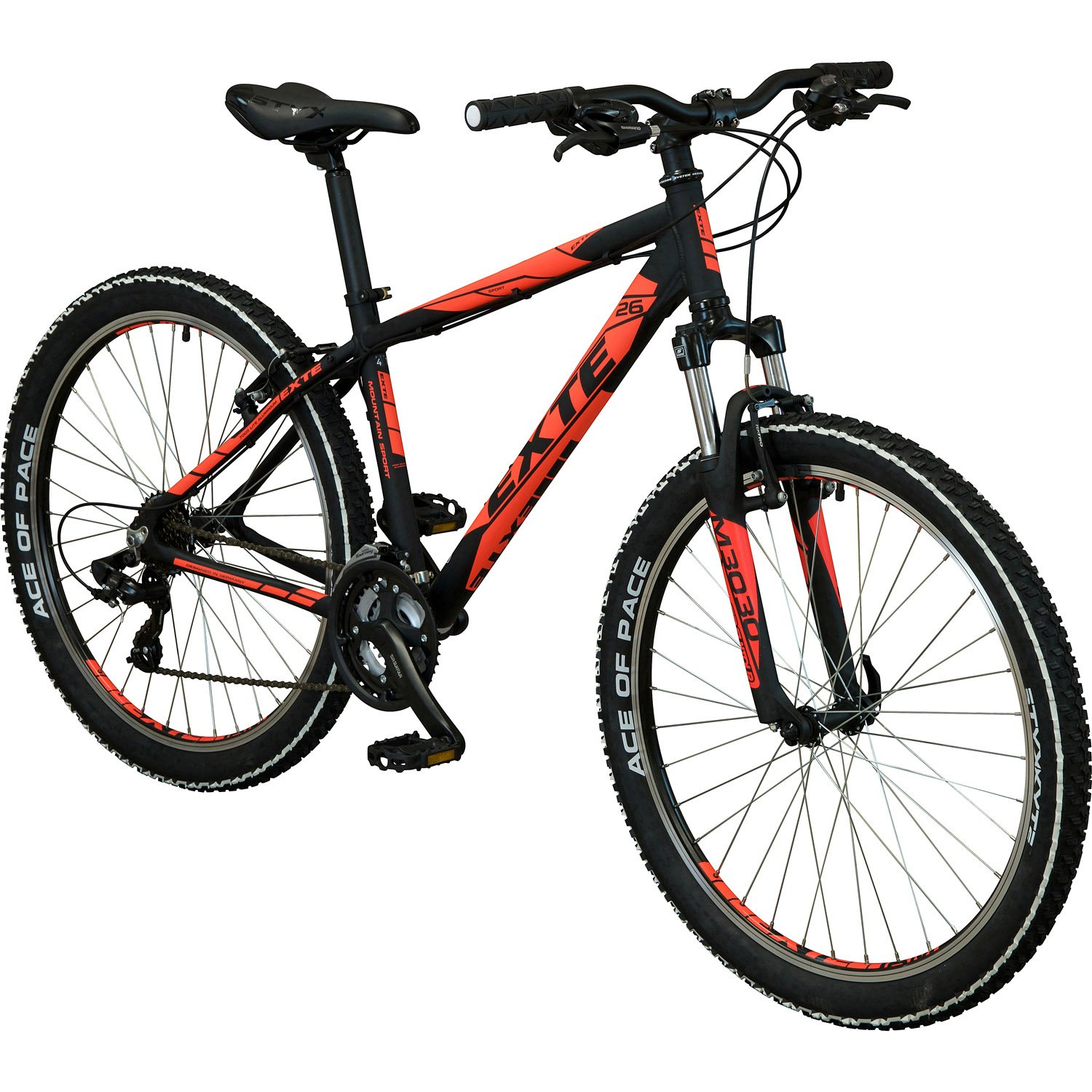 exte helium mountainbike 26 zoll schwarz neonorange 37. Black Bedroom Furniture Sets. Home Design Ideas