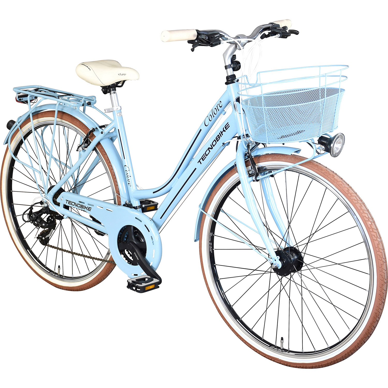 tecnobike colore citybike hollandrad 50 cm taubenblau. Black Bedroom Furniture Sets. Home Design Ideas