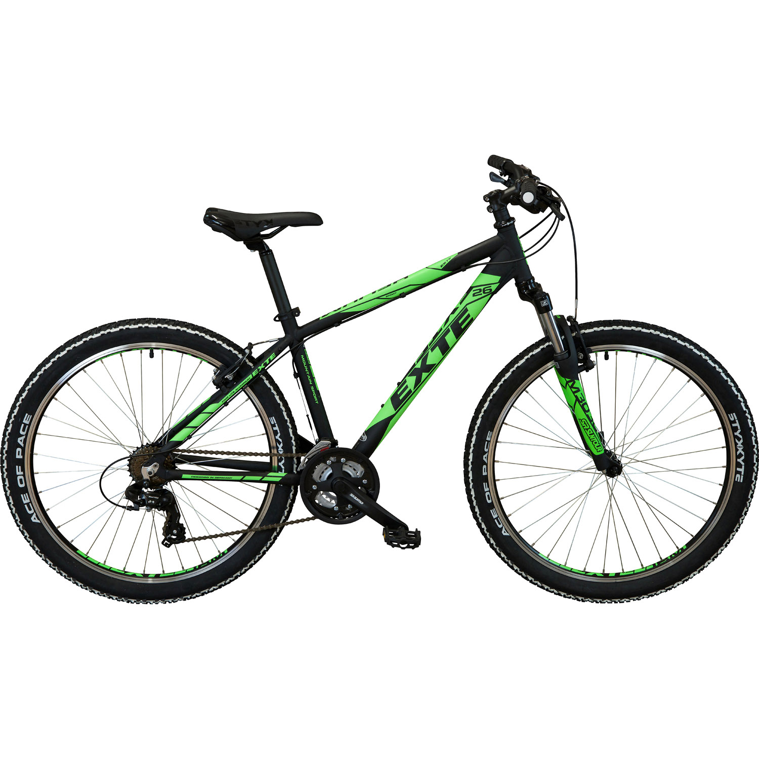 exte helium mountainbike 26 zoll schwarz neongelb 41 cm. Black Bedroom Furniture Sets. Home Design Ideas